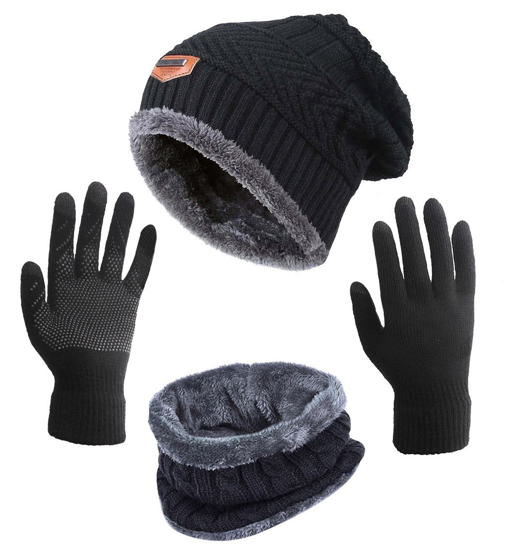 Winter Hat Scarf Gloves Slouchy Beanie Snow Knit Skull Cap Touch Screen Mittens Circle Scarves for Women Black