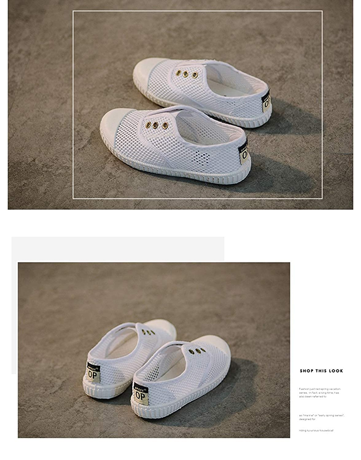 KaMiao Cute Toddler Flat Canvas Light Weight Laceless Slip-on Sneakers Walking Tennis Shoes School Shoes