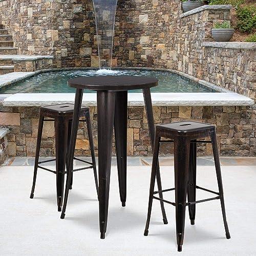 Flash Furniture Commercial Grade 24″ Round Black-Antique Gold Metal Indoor-Outdoor Bar Table Set