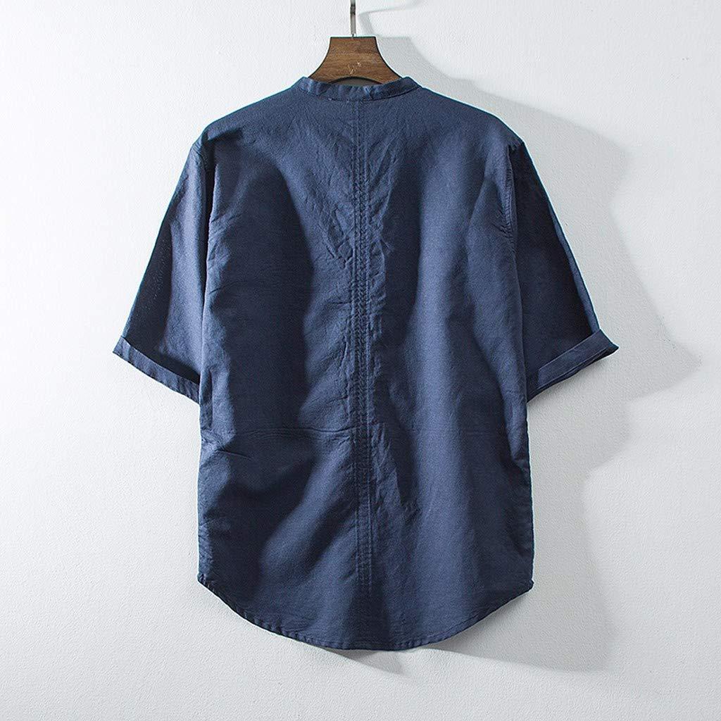 Jumaocio Mens Cotton Linen Solid Color Short Sleeve Retro T Shirts