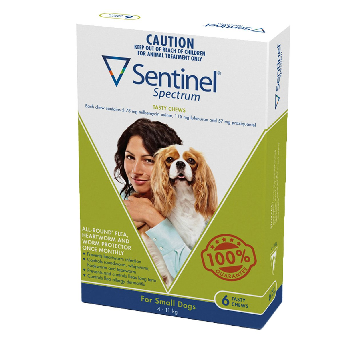 6p Sentinel Spectrum for Small Dogs 4-11 kgs 6 Pack Green
