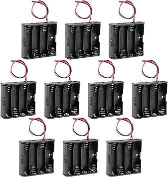 sourcing map 10pcs Soporte de la batería 6V Pilas Caja de Almacenamiento 4 x baterías AA de 1.5V Cables: Amazon.es: Electrónica
