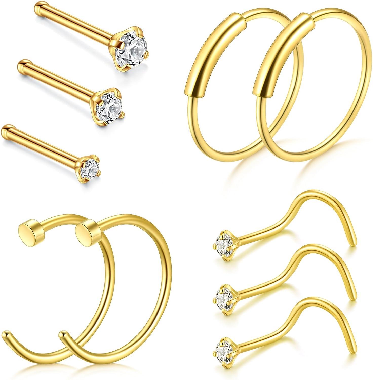 Gold 22g Gem Nose Ring Lip Ear Fake Body Piercing Jewellery Open Hoop Bar Screw