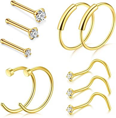 Amazon Com D Bella Clip On Nose Rings 22g Nose Pin Studs 1 5mm