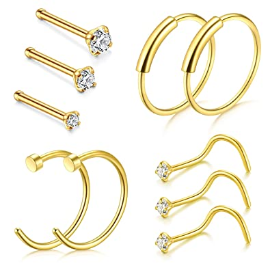 Amazoncom Dbella Clip On Nose Rings 22g Nose Pin Studs 15mm 2mm