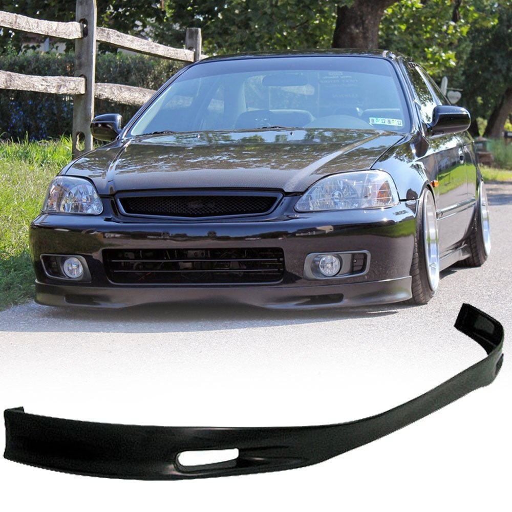 99-00 Honda Civic Ek 2/3/4 Door Spoon Style Add-On Front Bumper Lip Polyurethane IKON