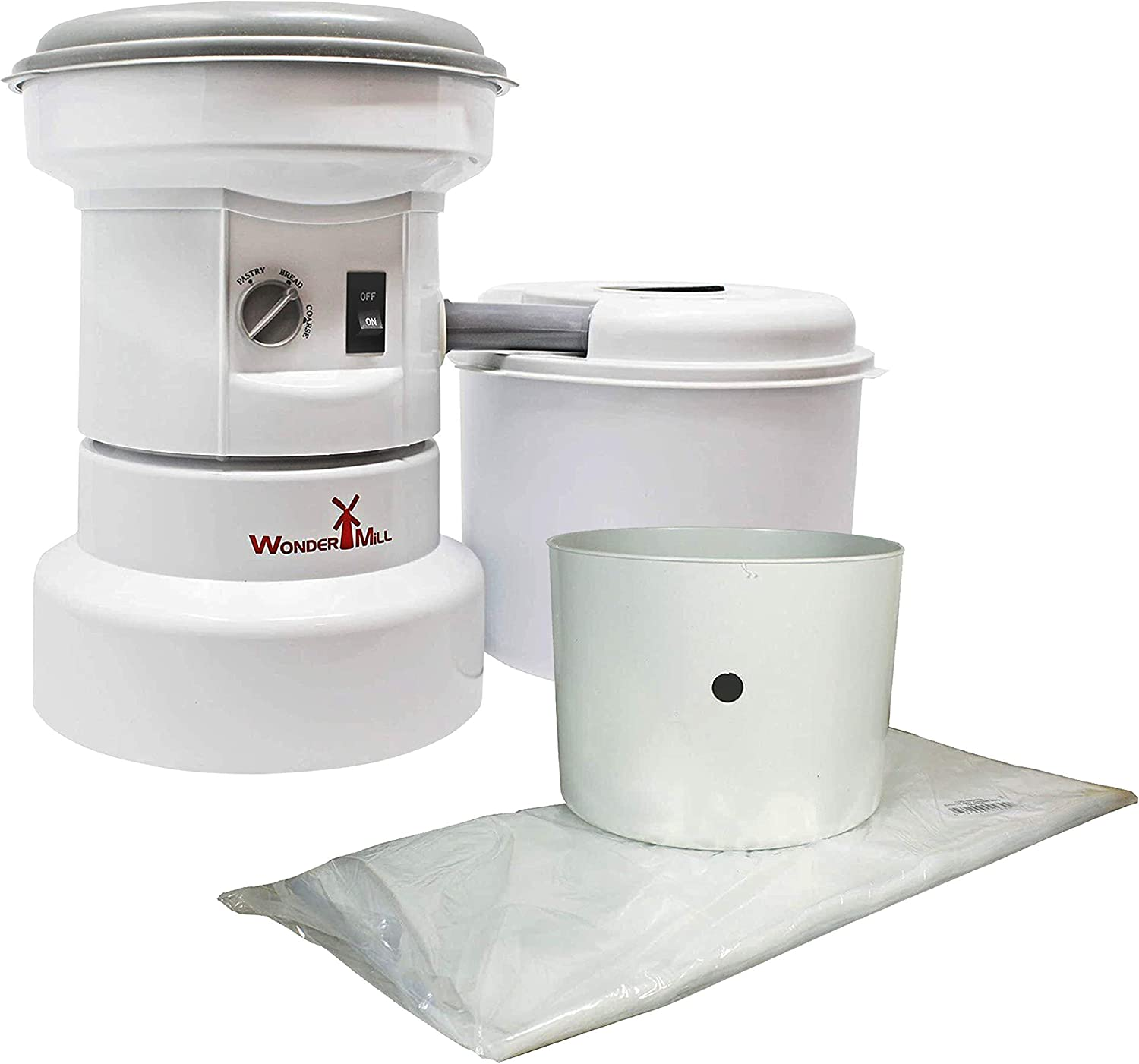 WonderMill - Bundle - Powerful Electric Grain Mill Grinder for Healthy Grains and Gluten-Free Flours with WonderMill Flour Bagger