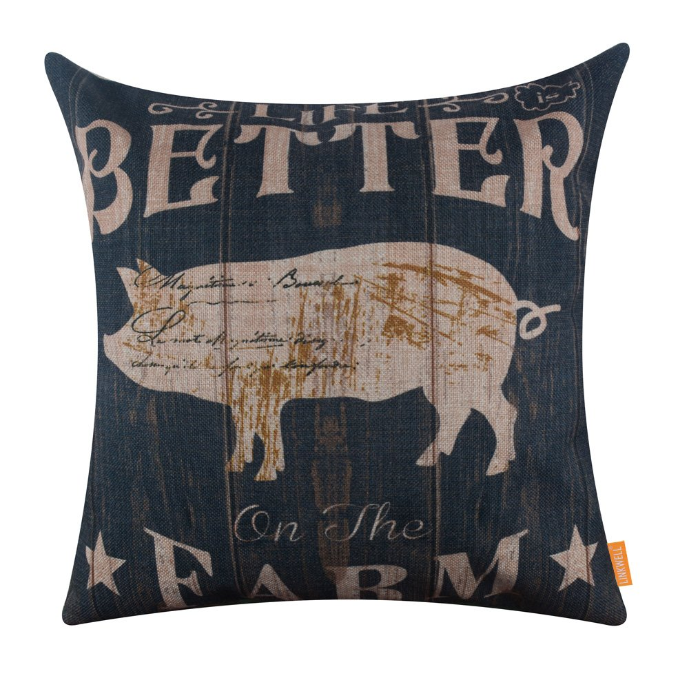 LINKWELL 18x18 inches Vintage Wood Look Farmhouse Pig Life is Better on The Farm Burlap Pillowcase Throw Cushion Cover (CC1265)