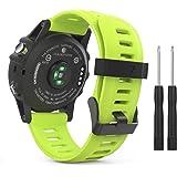 MoKo Garmin Fenix 3 / Fenix 5x Sport Watch Armband - Silikon Sportarmband Uhr Band Strap Ersatzarmband Uhrenarmband mit Werkzeug für Garmin Fenix 3 / Fenix 3 HR GPS Smart Watch, Grün