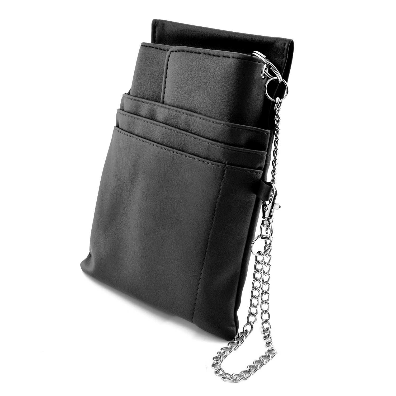 nean serveur argent porte-monnaie, portefeuille avec pochette, holster insert et chaîne, noir