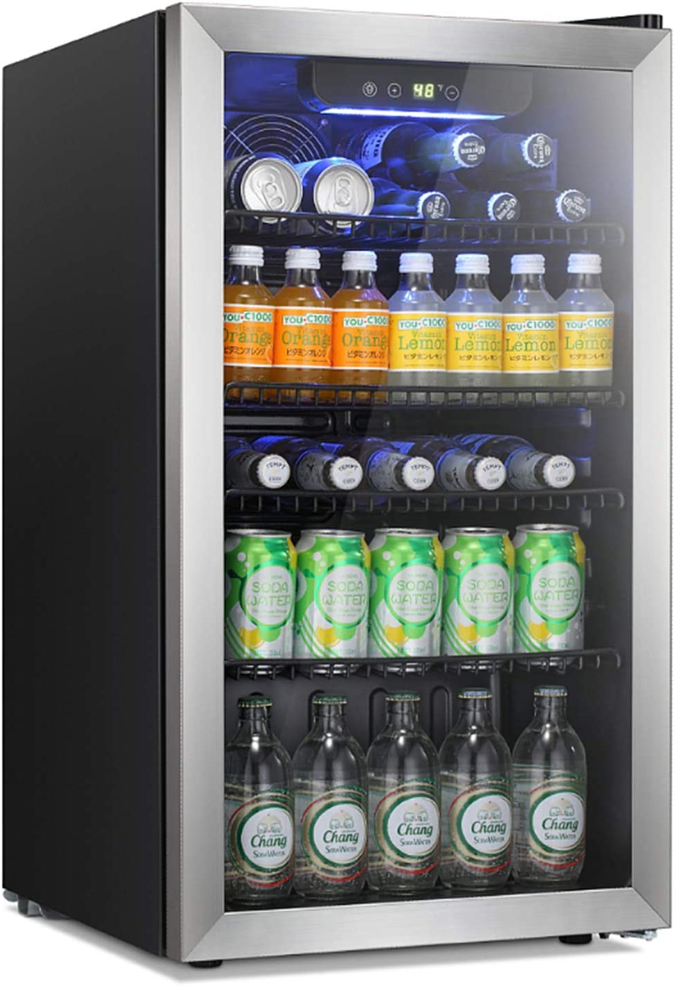 Antarctic Star Beverage Refrigerator Cooler -120 Can Mini Fridge Glass Door for Soda Beer or Wine Constant Glass Door Small Drink Dispenser Clear Front Door for Home, Bar 3.2cu.ft (Stainless Steel Silver)