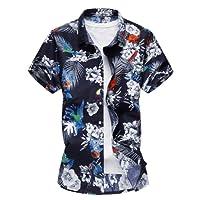 EnergyMen Men's Beach Casual Open Front Buttoned Tops Lapel Longshirt