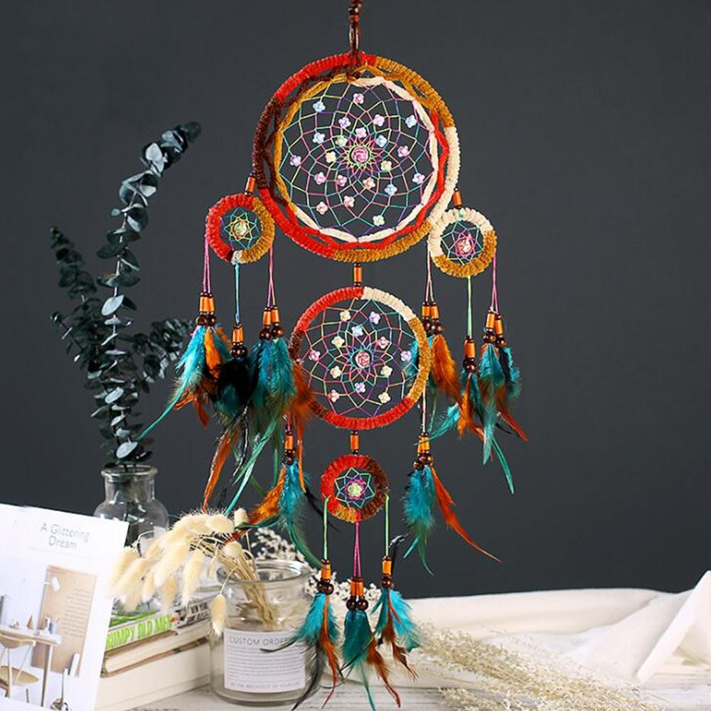 Karleksliv ancient style Hanging Feathers Ornament with 4 Rings colorful dream catchers Traditional Handicrafts Large DreamCatcher XM023