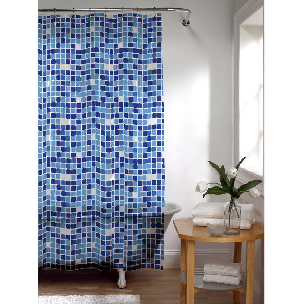 Amazon.com: MAYTEX Tiles PEVA Shower Curtain, Blue: Home & Kitchen