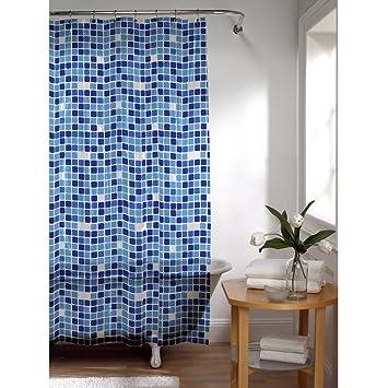 Amazon.com: Maytex Tiles PEVA Shower Curtain, Blue: Home & Kitchen