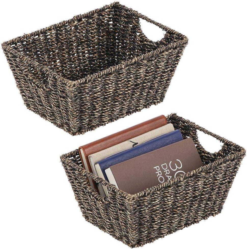Pr/ácticas cestas organizadoras de junco marino para art/ículos del hogar dormitorio Organizador de estantes para sal/ón ba/ño o pasillo negro mDesign Juego de 2 cestas trenzadas con asas