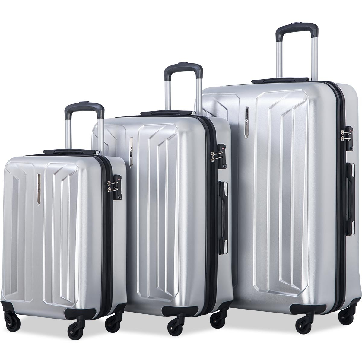 Flieks Luggage 3 Piece Sets Spinner Suitcase with TSA Lock, Lightweight 20 24 28 (Silver)