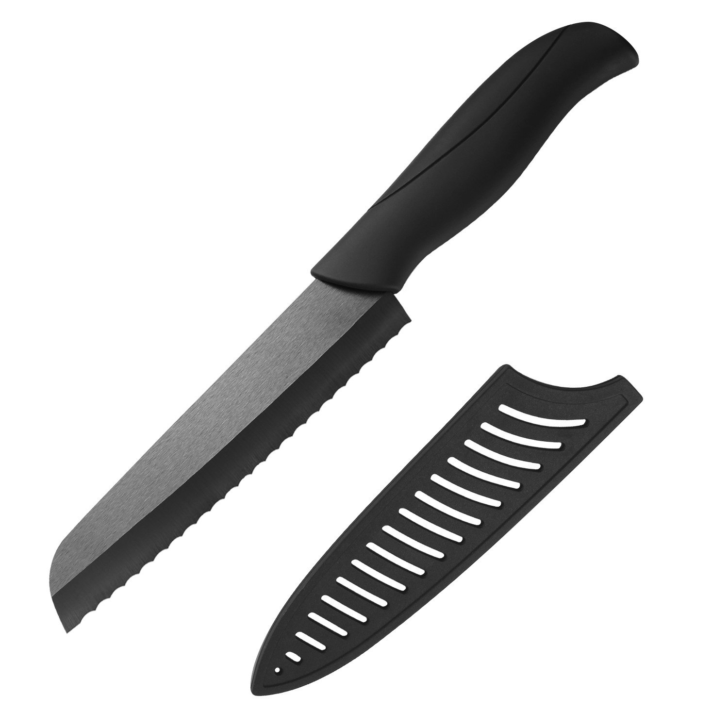 Serrated Ceramic 6'' Bread Knife- Non-Slip Rubberized Handles with Sheath Cover - Sharp Blade, Eco Friendly