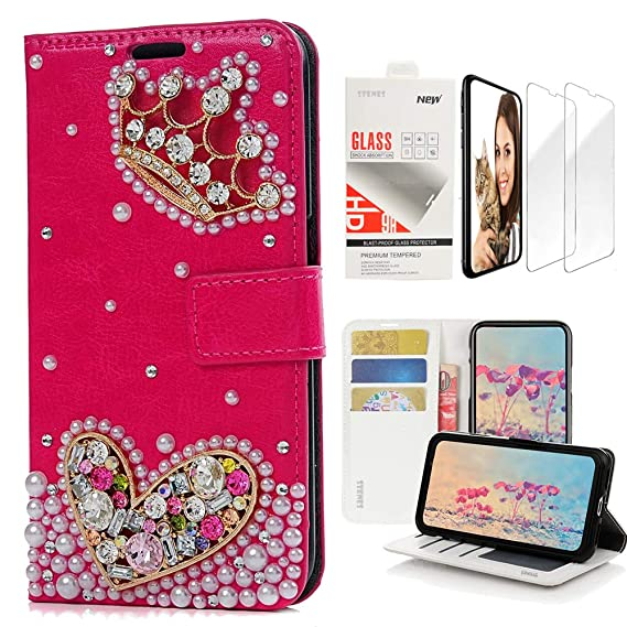 quality design 49e26 9f89a STENES Bling Wallet Case Compatible iPhone 6 Plus/iPhone 6S Plus - Stylish  - 3D Handmade Crown Heart Design Leather Case with Wrist Strap & Screen ...