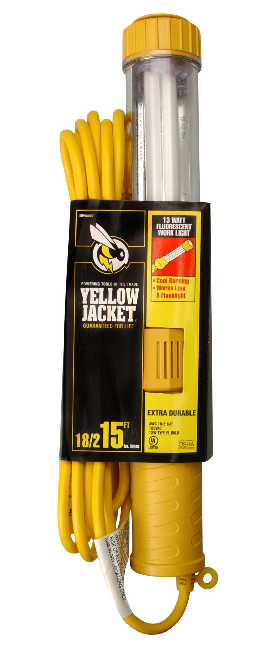 Yellow Jacket 38046 18/2 SJTW 13-watt Fluorescent Work Light with Outlet, 15-Feet