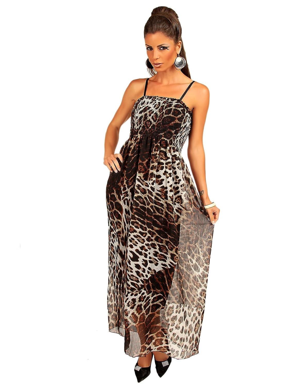 Modefaszination Maxikleid Sommerkleid mit mit Leoparden Muster und Spaghettiträger 12406