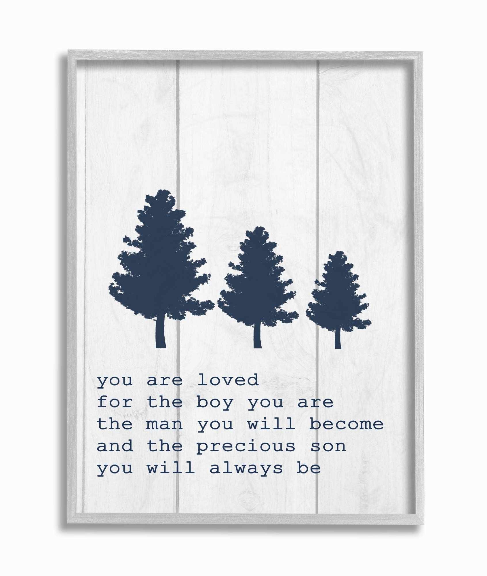 The Kids Room by Stupell You are You are Loved Son Three Tree Planks Framed Giclee Texturized Art, 16x20, Multi-Color