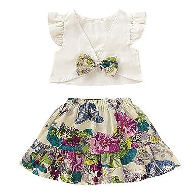 Borlai 9-36 M bebé niña con Volantes Top Camisa y Falda Floral ...