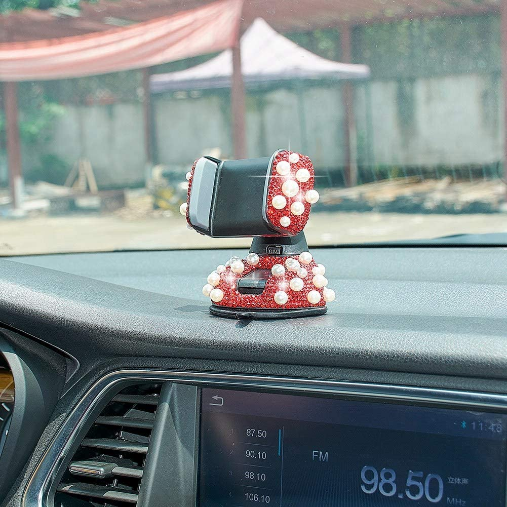 Red ATMOMO Bling Rhinestone and Pearl Universal Car Phone Mount Car Phone Holder for Car Dashboard Air Vent Adjustable Cell Phone Stand