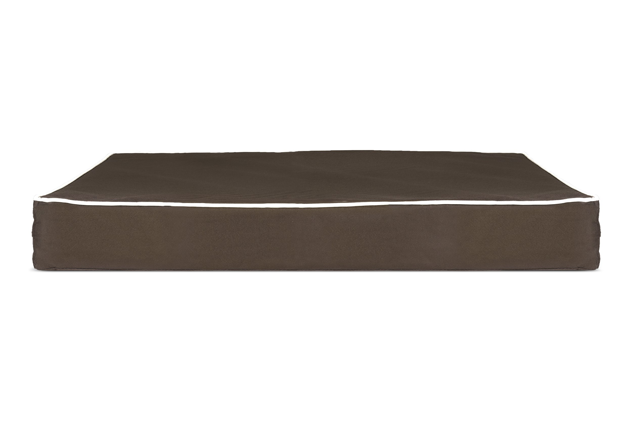 FurHaven Deluxe Orthopedic Indoor/Outdoor Pet Bed Mattress for Dogs and Cats, Espresso w/Cream Trim, Small