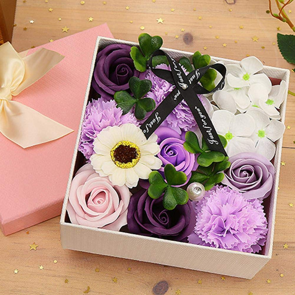 Ramo de flores de jab/ón Ramos de flores de clavel de rosa Caja cuadrada peque/ña Ramo de flores de jab/ón para cumplea/ños Madres Esposa Novia Por Favourall