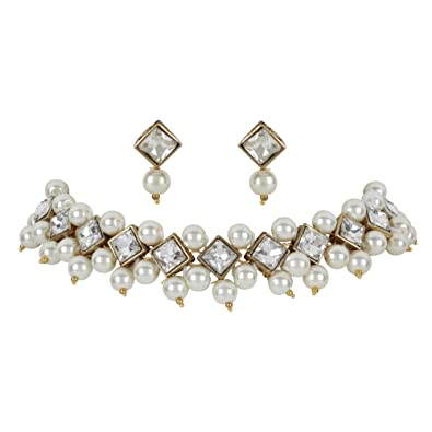 2451e3d47cb21 Buy Steorra jewels White Brass, Copper Pearl Kundan Choker Necklace ...