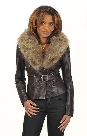 "270ba6ebe3014 Leather Crow - Veste Cuir Femme""Zarah"" Neuf Col Fourrure De  Renard - Couleur"
