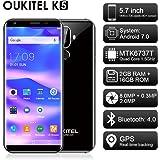 """Oukitel K5 Smartphone 4G, 18:9 Full HD Display 5.7"""", Telefono Sbloccato, Android 7.0, MTK6737T Quad-Core 1.5GHz, 2GB RAM e 16GB ROM, 4000mAh Batteria, Doppia Fotocamera Posteriore, Impronte Digitale (nero)"""