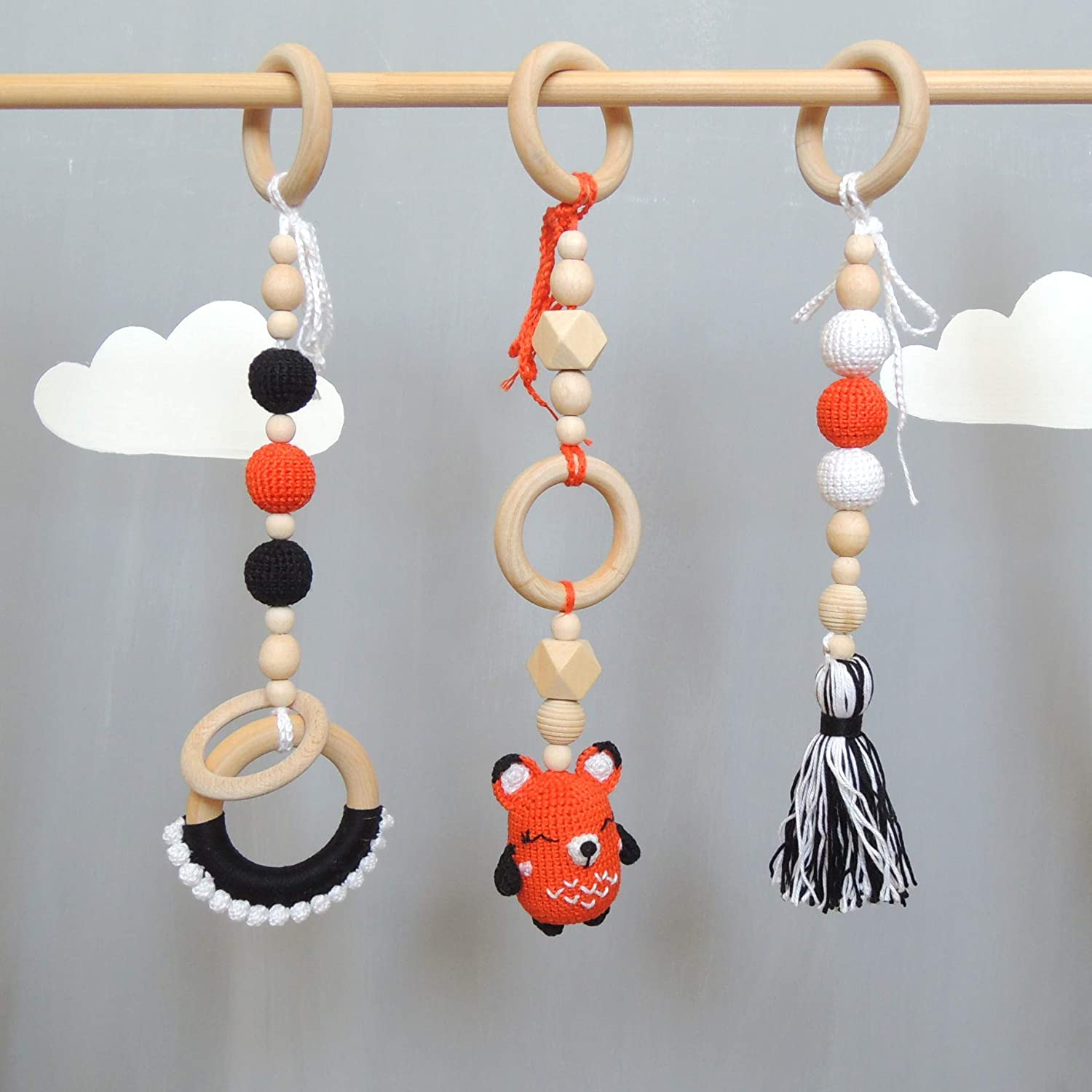 Set of 3 Hanging Toys for Wooden Baby Gym, Stroller Toy, Pram Chain, Car Seat Accessories, Baby Mobile, Rattle Animal Fox, Teething Ring, Shower Gift for Girl or Boy