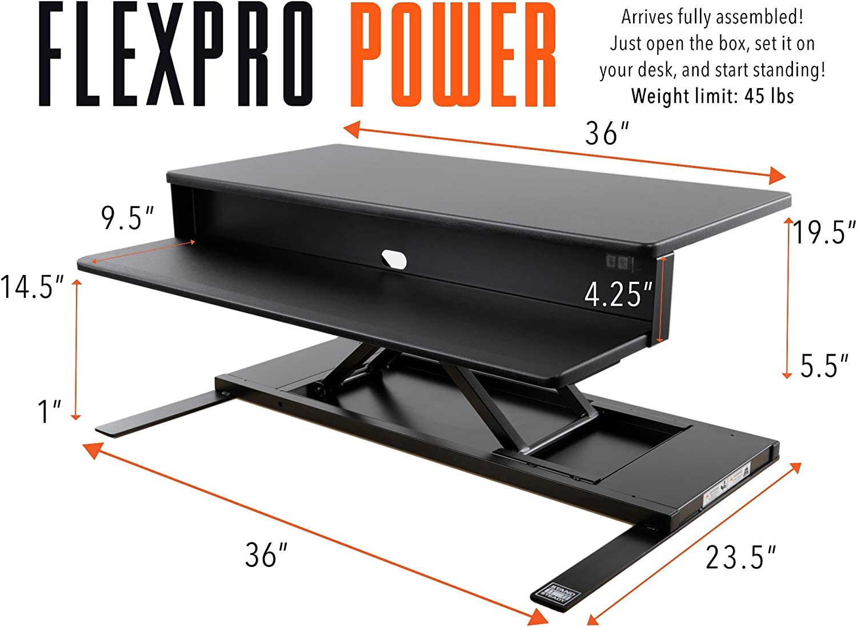 FlexPro Power 40 Inch Desk Converter White