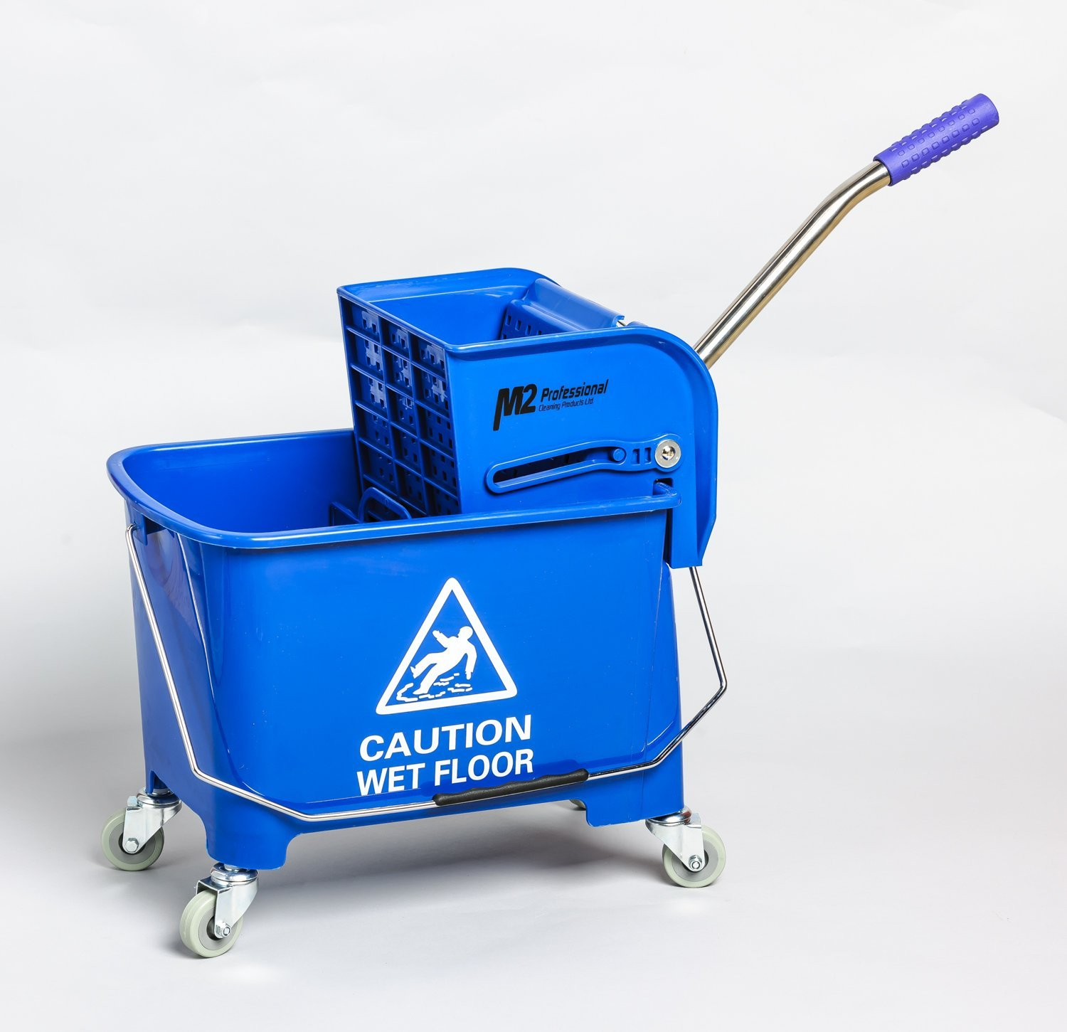 M2 Professional Junior Commercial Junior Mop Bucket with Side Press Wringer and Wheels, 23 Quart/6 Gallon Capacity - Blue