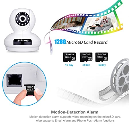 Sricam Cámara IP de Vigilancia inalámbrica (1080P, 2.0MP, Wifi 820.11b/g, H.264, P2P, Detección de movimiento, IR LED, Visión nocturna), Color blanco, ...