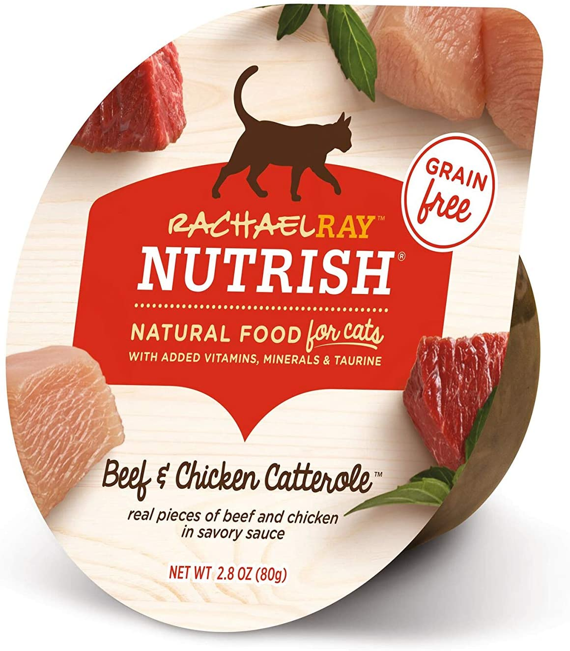 Rachael Ray Nutrish Natural Wet Cat Food, Beef & Chicken Catterole Recipe, 2.8 Ounce Cup (Pack of 12), Grain Free