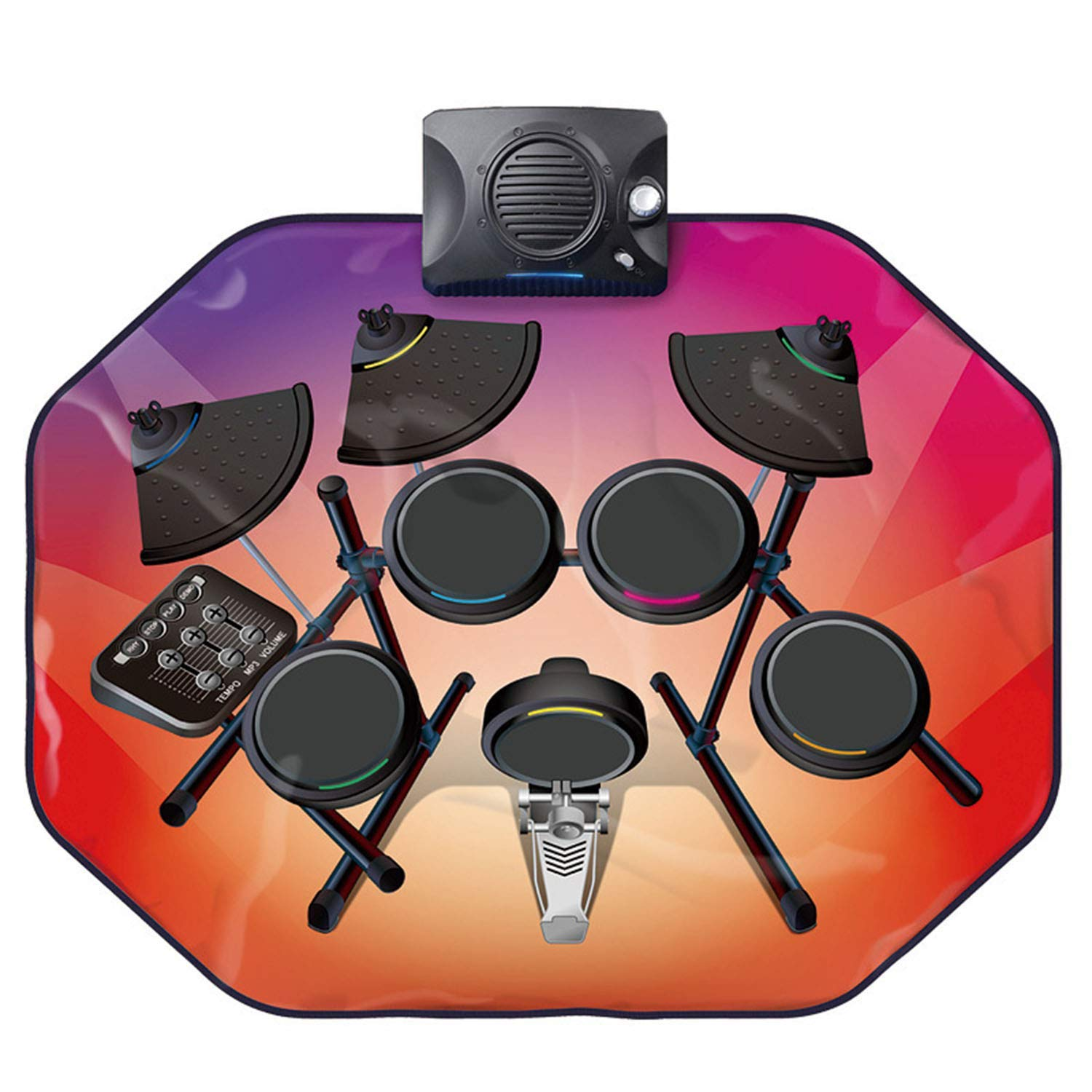 Drum Music Blanket, Jazz Drum Game Pad, Carpet Dance Mat, with Built in Music Tracks, 5 Music, Recording Function, Can Connect to Mobile Phone by ankt777 (Image #2)
