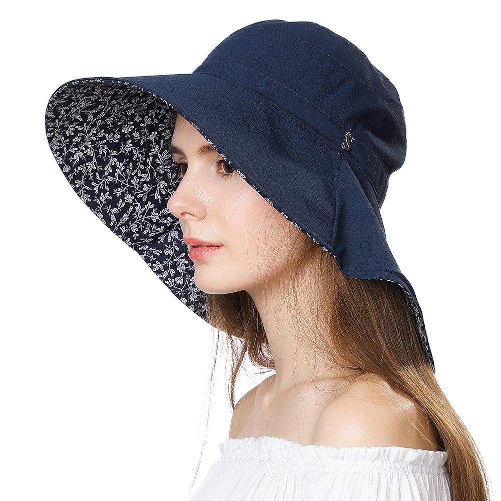 UV Protection Sun Hats for Women Summer Gardening Fishing Hiking Travel Shade Hat Wide Brim Foldable Navy Siggi