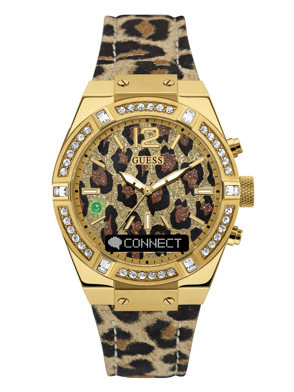 GUESS Women's CONNECT Smartwatch with Amazon Alexa and Genuine Leather Strap Buckle - iOS and Android Compatible -  Gold