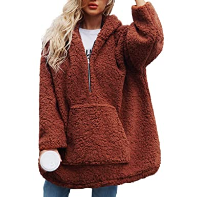 Fartido Womens Warm Artificial Wool Coat Hooded Sweatshirt Parka Outerwear (Brown, S)