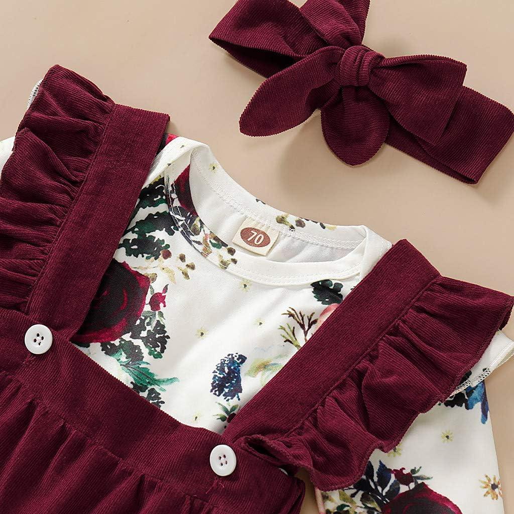YSpoe Fashion Kleinkind Herbst Winter Outfits Langarm Floral Strapsr/öcke R/üschen Schleife Haarband Set s/ü/ße Babykleidung