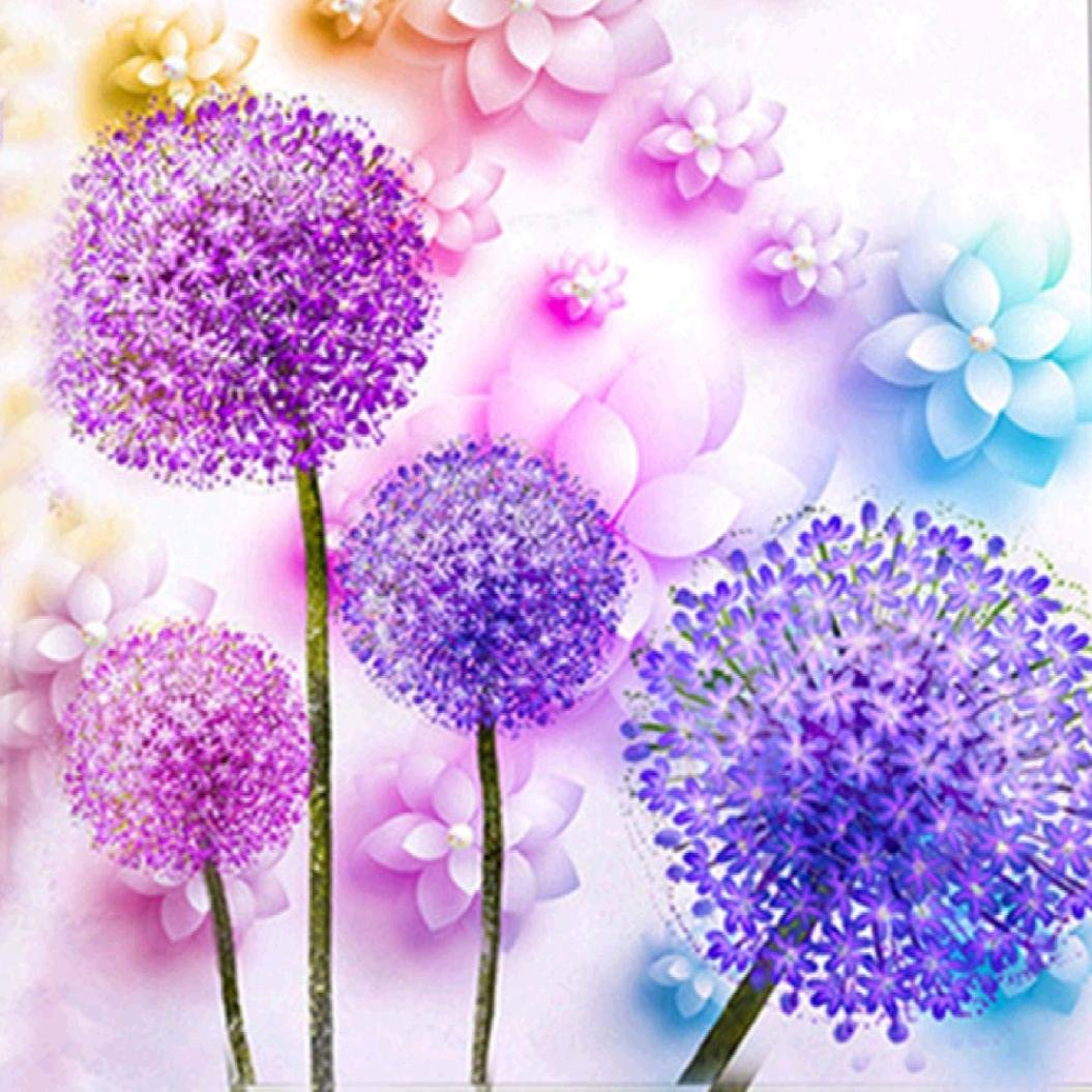 Pandaie Full Drill Purple Dandelion 5D Embroidery Paintings Rhinestone Pasted DIY Diamond Painting Cross Stitch A