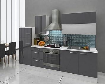 respekta Premium Küche Küchenzeile 280 cm weiss grau hochglanz Kühl ...
