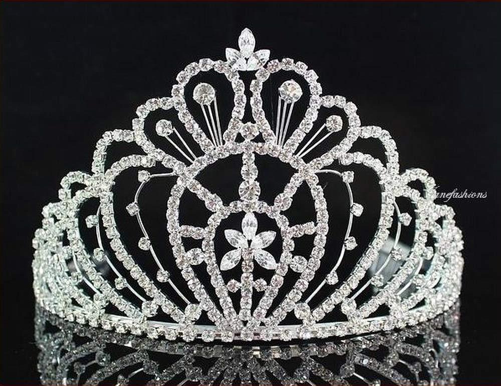 Queen Austrian Clear Rhinestone Crown Tiara w/ Hair Combs Pageant Prom H469 by royal*wedding