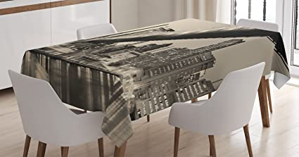 Ambesonne New York Tablecloth, Queensboro Bridge NYC Night Sepia Artprints  Urban City View Modern Selection