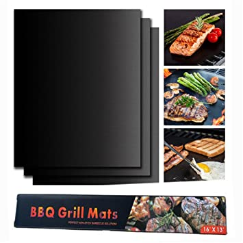 Home & Garden Bbq Grill Mat Fda Approved Pfoa Free Heavy-duty Non-stick Reusable set Of 3 Outdoor Cooking & Eating
