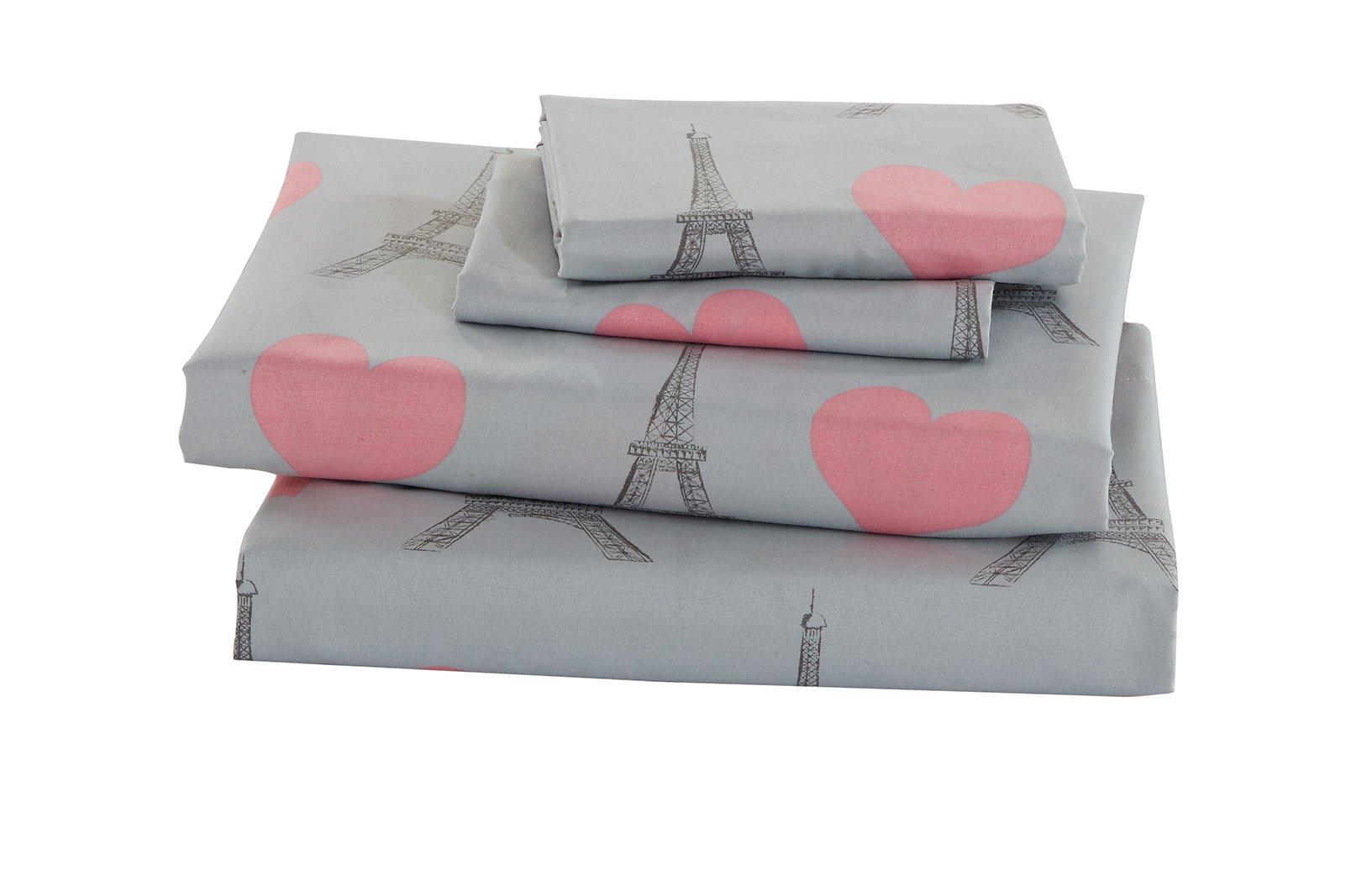 Fancy Linen Teens/Girls Full Sheet Set Paris Eiffel Tower Hearts Pink Grey New # Paris