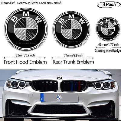 3pcs Black and White BMW Carbon fiber texture 82mm Hood Emblem/74mm Trunk Emblem/45mm Steering Wheel Center Emblem for BMW, Emblems Replaceme 6 7 8 series 325i 328i E Series (fit BMW): Automotive